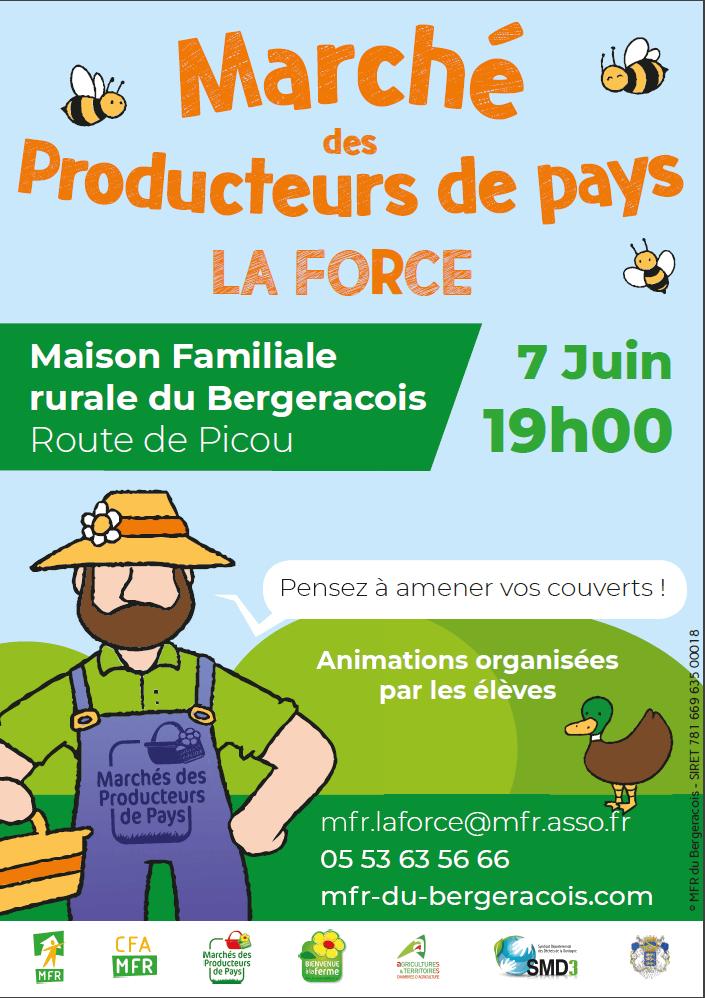 Affiche Marché des producteurs de pays à la MFR du Bergeracois à La Force